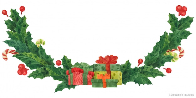 Guirnalda de acebo de navidad con cajas de regalo y bastones de caramelo