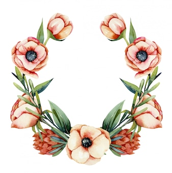 Guirnalda de acuarela anémona de coral y flores de protea, ilustración pintada a mano