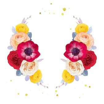 Guirnalda de acuarela de anémona rosa roja y flor de ranúnculo