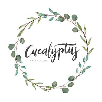 Guirnalda de acuarela de laurel de eucalipto