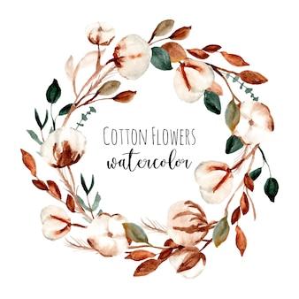 Guirnalda de acuarela de marco de flores de algodón