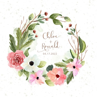 Guirnalda de acuarela rosa verde jardín de flores