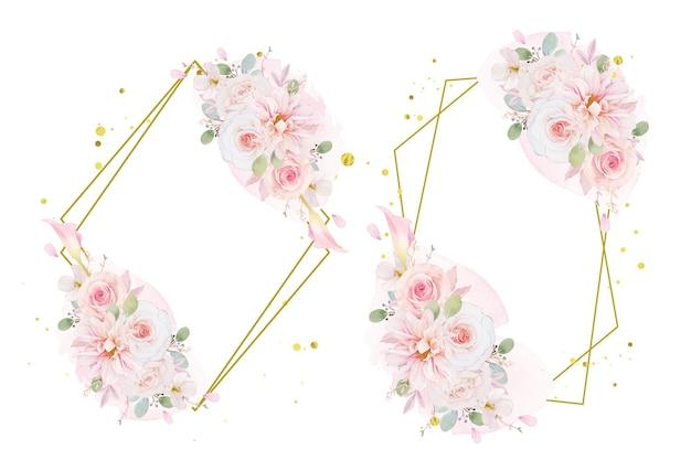 Guirnalda de acuarela de rosas rosadas dalia y flor de lirio