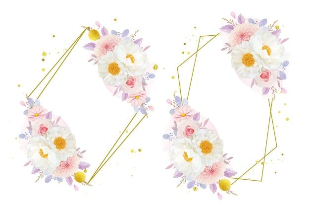 Guirnalda de acuarela de rosas rosadas dalia y flor de peonía