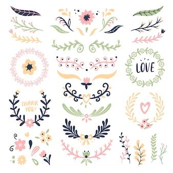 Guirnalda de adornos florales. banner de remolino de flores retro, marcos de guirnalda de flores de tarjeta de boda y divisores ornamentales conjunto aislado
