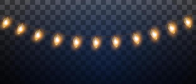 Guirnalda de año nuevo de luces de navidad de vector aislado sobre fondo transparente decoración de vacaciones de invierno