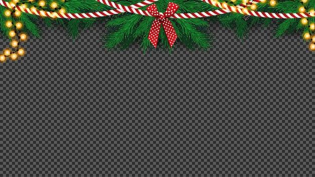 Guirnalda de árbol de navidad con guirnalda de proa y bulbo