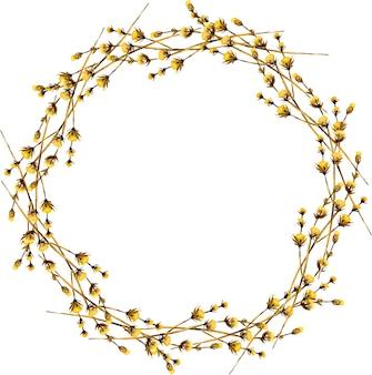 Guirnalda, borde redondo con flores silvestres secas amarillas de acuarela