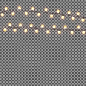 Guirnalda brillante con bombilla sobre fondo transparente. chris