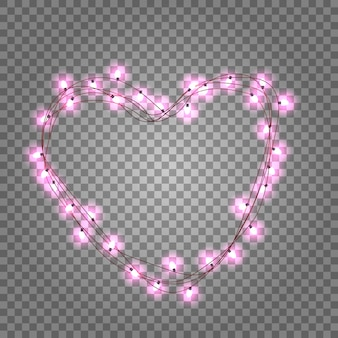 Guirnalda brillante en forma de corazón