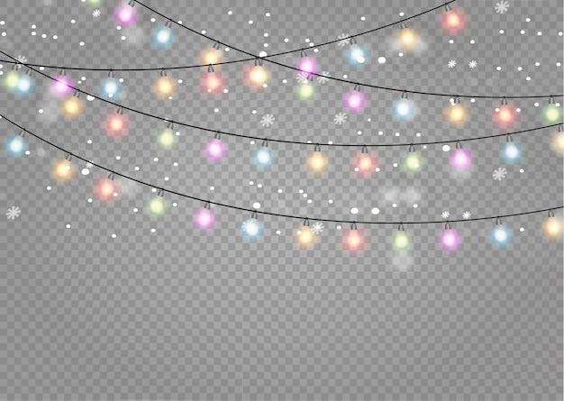 Guirnalda brillante de luces de navidad.