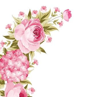 Guirnalda brillante de rosas florecientes