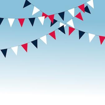 Guirnalda de carnaval con banderas. banderines decorativos coloridos para la celebración de cumpleaños, festival y decoración de feria.