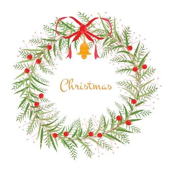 Guirnalda de las chrismas y año nuevo. la flor es vector para objeto, marco y tarjeta. el objeto es la colección para navidad y año nuevo. el vector no es rastrear ni copiar imagen.
