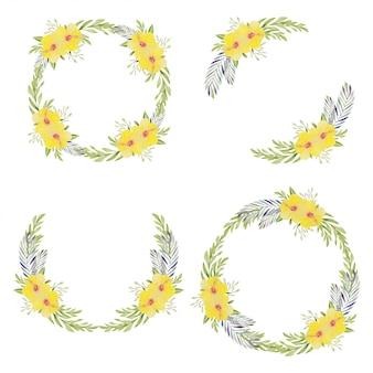Guirnalda de círculo floral de hibisco amarillo en colección acuarela