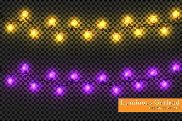 Guirnalda de colores, decoraciones festivas. luces de navidad brillantes aisladas sobre fondo transparente.