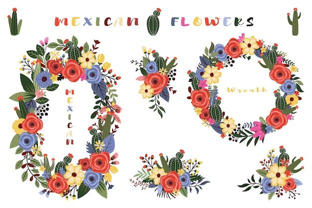 Guirnalda colorida de flores silvestres mexicanas