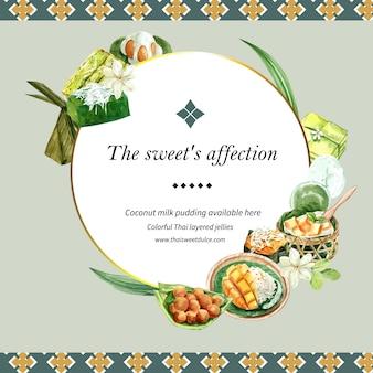 Guirnalda dulce tailandés con budín, arroz pegajoso, acuarela de ilustración de mango.