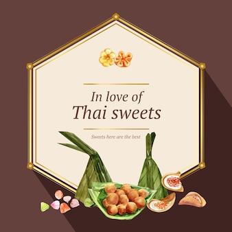 Guirnalda dulce tailandesa con acuarela de ilustración de panqueque crujiente tailandés.