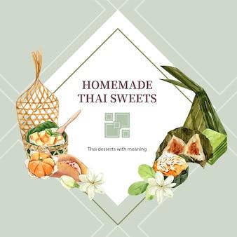 Guirnalda dulce tailandesa con masa de pirámide, acuarela de ilustración de gelatina en capas.