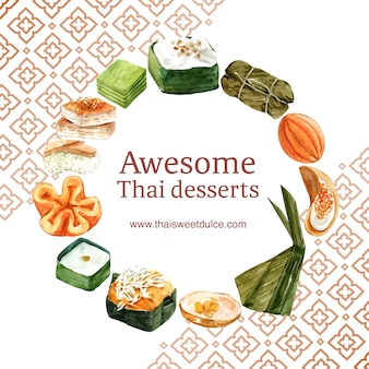 Guirnalda dulce tailandesa con natillas tailandesas, acuarela del ejemplo del pudín.