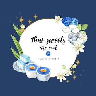 Guirnalda dulce tailandesa con pudín, gelatina en capas, acuarela de ilustración de flores.