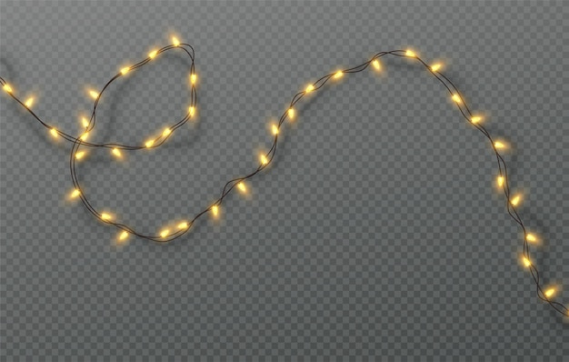 Guirnalda eléctrica de navidad de bombillas aislado sobre un fondo transparente. ilustración de vector eps10