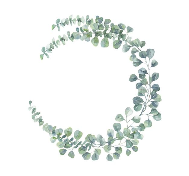 Guirnalda de eucalipto acuarela.