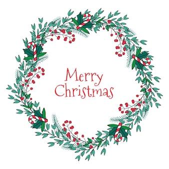 Guirnalda de feliz navidad dibujada a mano
