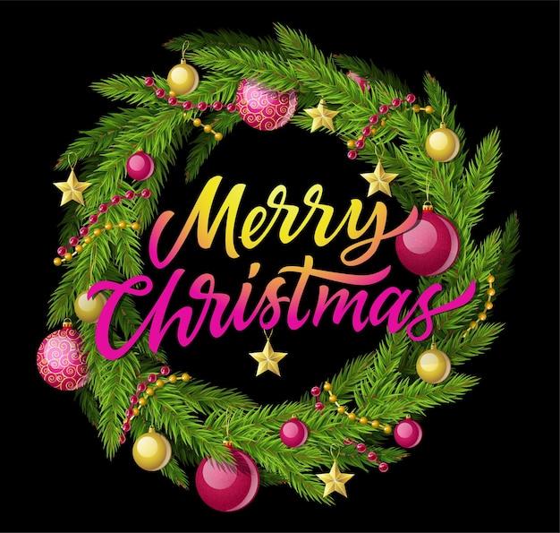 Guirnalda de feliz navidad - ilustración realista vector moderno con texto de caligrafía sobre fondo negro. decoración con aguja de pino, guirnalda, bolas y estrellas. perfecto como tarjeta de felicitación, invitación.