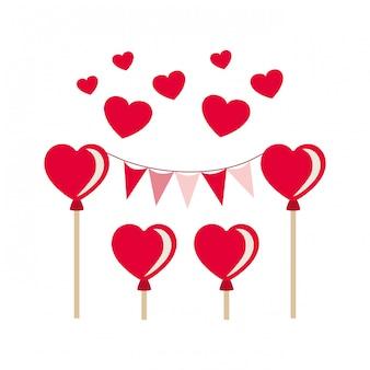 Guirnalda de fiesta con corazones globos aislados icono
