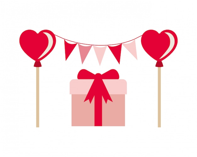 Guirnalda de fiesta con el icono de caja de regalo aislado