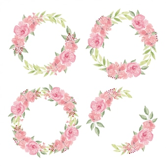 Guirnalda floral acuarela con colección de flores color de rosa