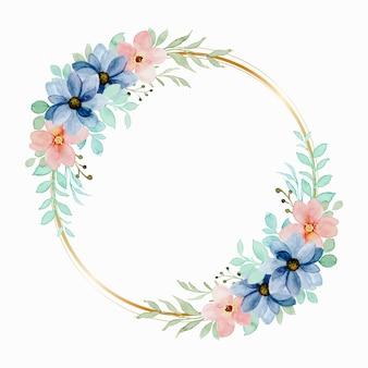 Guirnalda floral acuarela colorida con círculo dorado