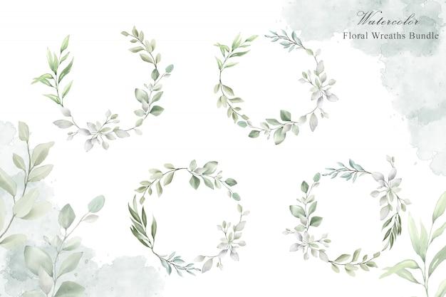Guirnalda floral acuarela para plantilla de tarjeta de invitación de boda