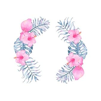 Guirnalda floral de añil tropical acuarela con hibisco rosado y hojas de monstera de palma índigo