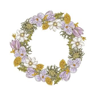 Guirnalda floral dibujada a mano
