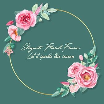 Guirnalda floral encantadora con acuarela de rosa, peonía ilustración.
