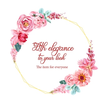 Guirnalda floral encantadora con acuarela de snapdragon, rosa ilustración.