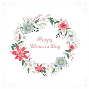 Guirnalda floral feliz día de la mujer
