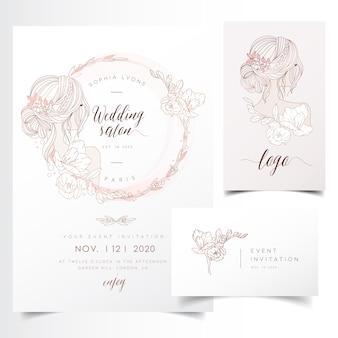 Guirnalda floral femenina para la plantilla de invitación de evento