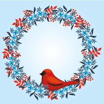 Guirnalda floral con flores azules y rojas y pájaro rojo