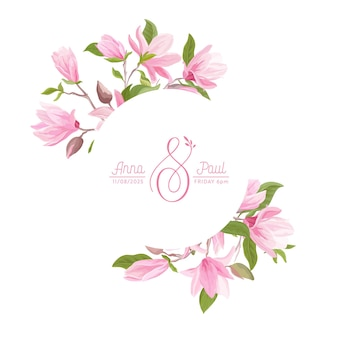 Guirnalda floral con flores en colores pastel de magnolia acuarela, hojas, flor. ilustración de banner de flor de verano de vector. invitación de boda moderna, tarjeta de felicitación de moda, diseño de lujo
