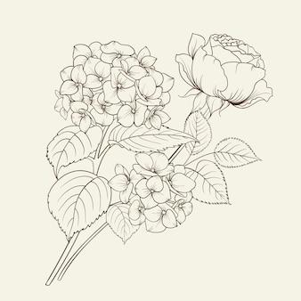 Guirnalda floral de hortensias y rosas.