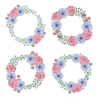 Guirnalda floral marco pintado a mano decoración