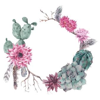 Guirnalda floral con ramas y suculentas.