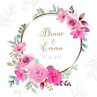 Guirnalda floral rosa verde con acuarela
