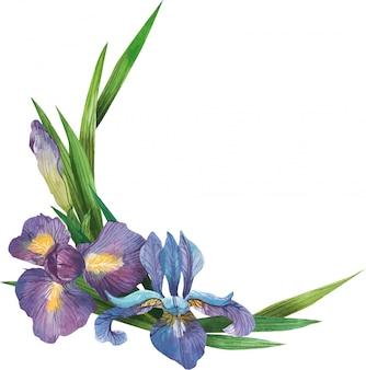 Guirnalda de flores acuarelas