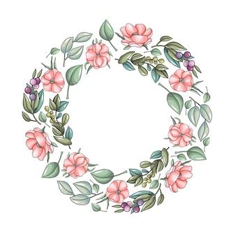 Guirnalda con flores de anémona rosa y ramas de eucalipto.