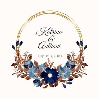 Guirnalda de flores azules y hojas marrones con acuarela